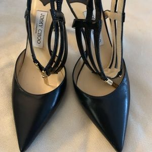 Jimmy Choo black leather heels pumps closed toes 8